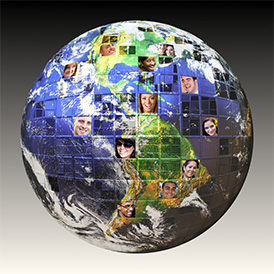 Montage of the earth with a global network of people from all walks of life on different continents isolated over white.  Clipping path included. Earth photo co